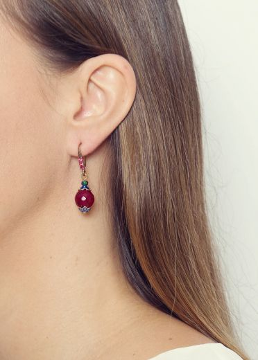 Berry Rainbow Agate Earrings
