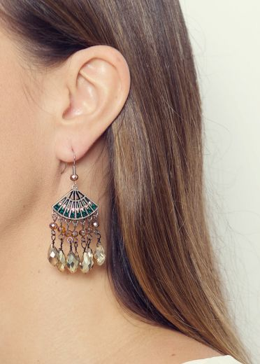 Antique Apricot Crystal Fan Earrings