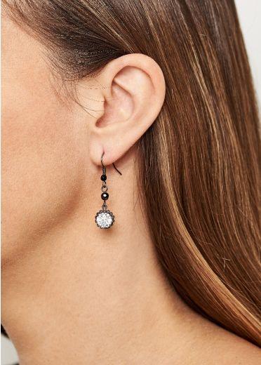 Pewter Crystal Earrings