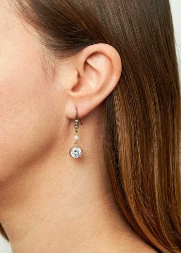 Gold Freshwater Pearl & Crystal Earrings