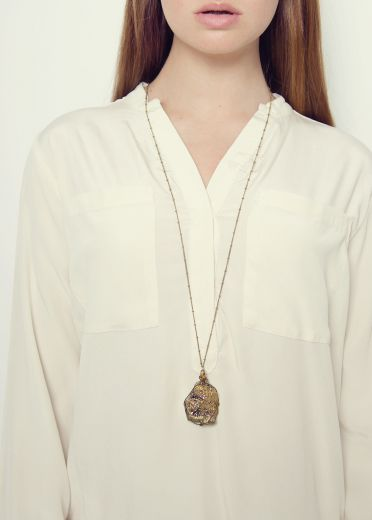 Gold Crystal Rock Necklace