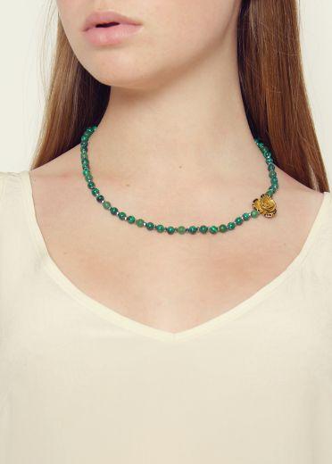Malachite rose necklace