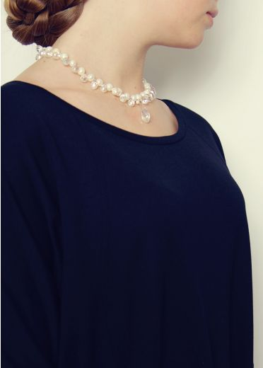 Crystal and Pearl Cluster Necklace