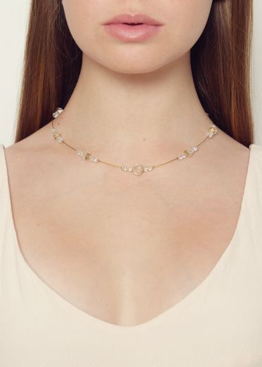 Gold Sahara Crystal Strand Necklace