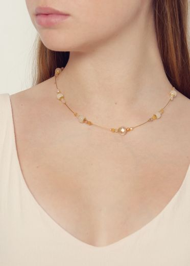 Peach Blossom Agate Strand Necklace