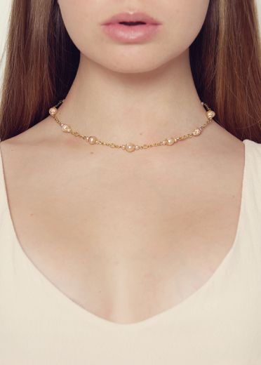 Pink Pearl Chain Necklace