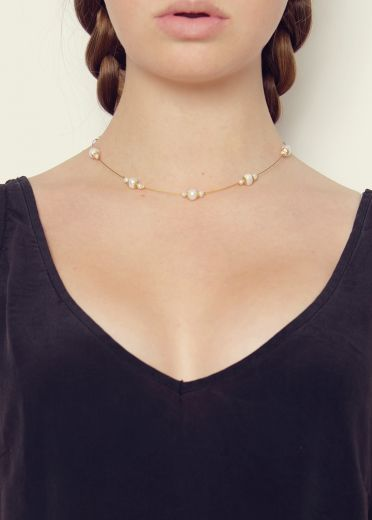 Ivory Pearl and Gold Strand Necklace