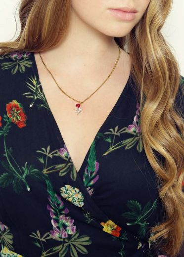 Ruby Star Agate Chain Necklace
