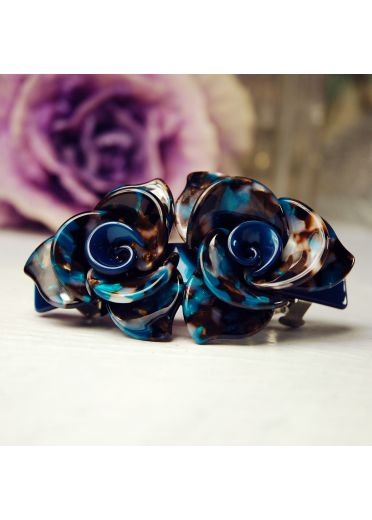 black and blue rose hair clip