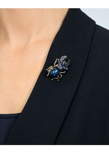 Blue Crystal Scarab Hairclip & Brooch
