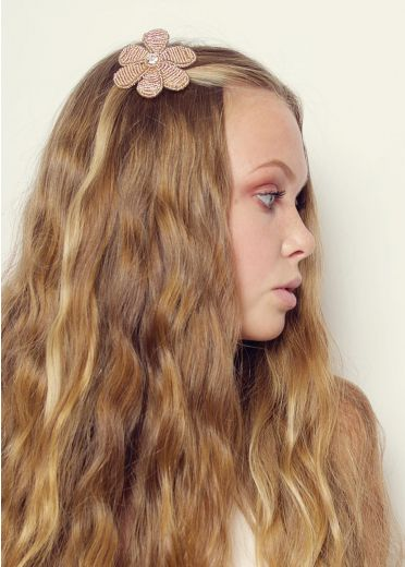 Blush Beaded Blossom Hair Clip