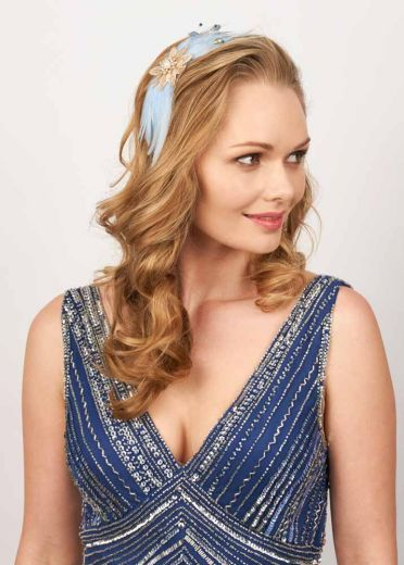 Sky Daphne Freshwater Pearl & Feather Hairband