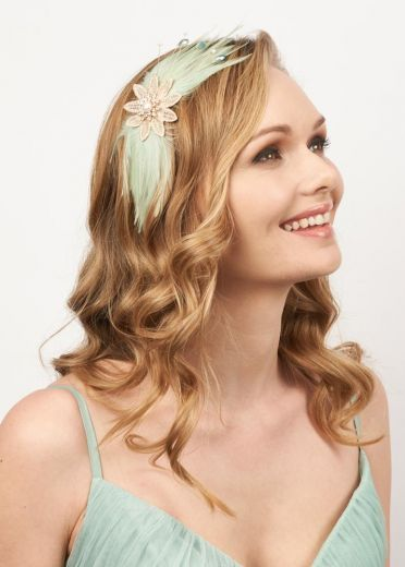 Daphne Green Feather & Pearl Hairband