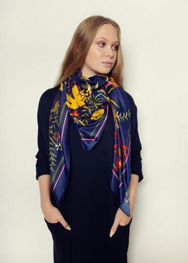 Navy Lilies Silk Scarf