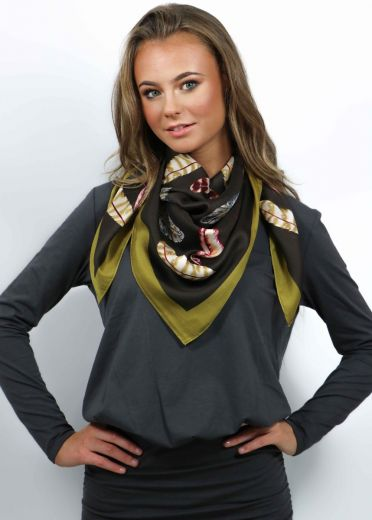 Gold Coco Feather Silk Scarf