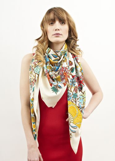 Sunset Floral Ella Silk Scarf
