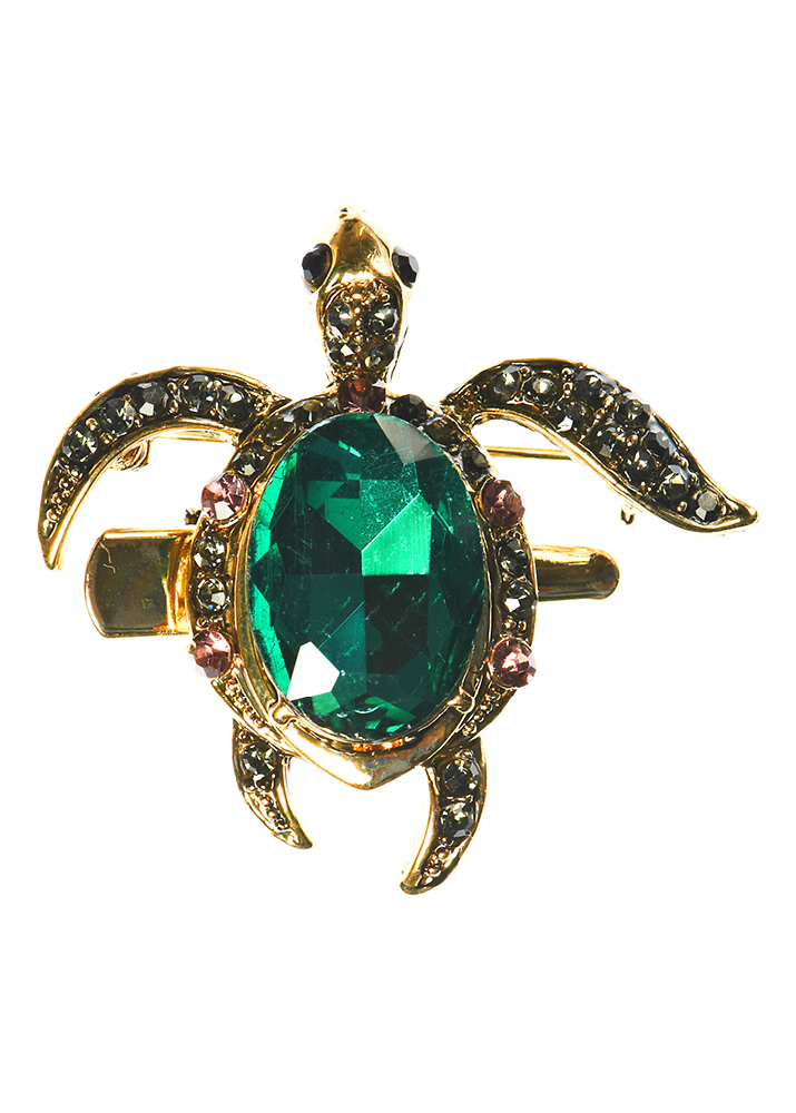 Emerald Turtle Hair Clip and Brooch
