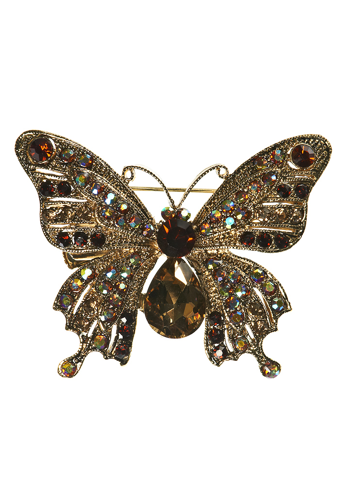 Gold Crystal Butterfly Brooch