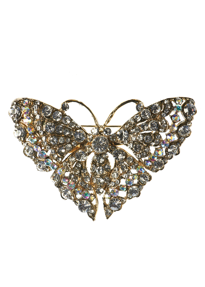 Exquisite Crystal Butterfly Hair Clip and Brooch
