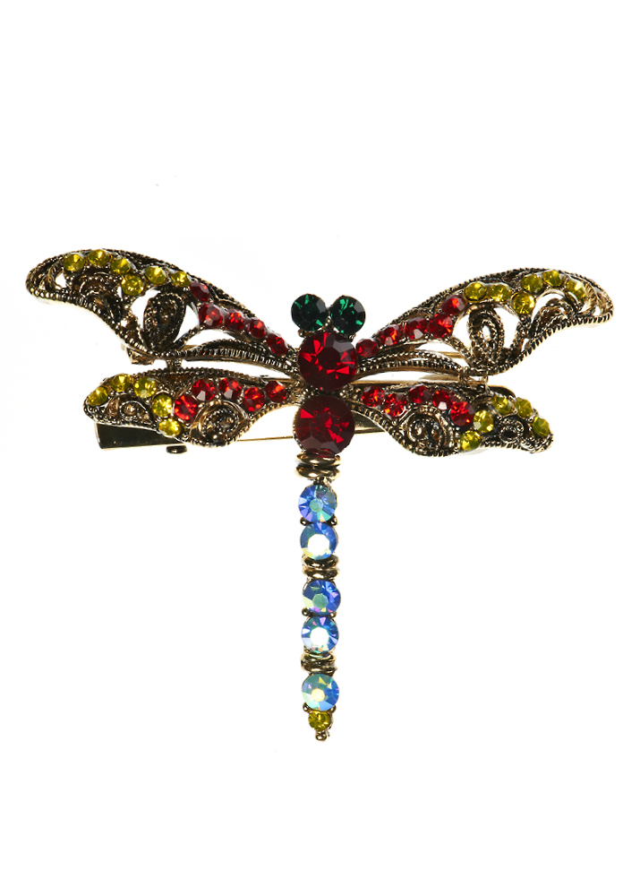 Rainbow Electric Crystal Dragonfly Hair Clip and Brooch