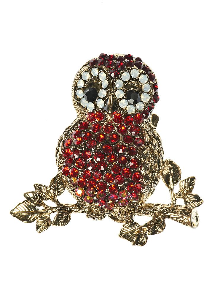 Ruby Crystal Owl Brooch
