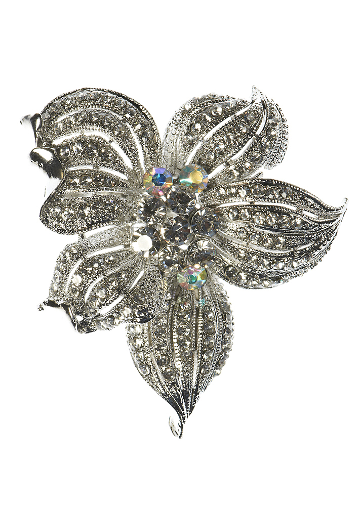 Silver Crystal Lily Hair Clip and Brooch