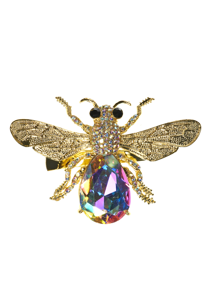 Gold Crystal Bug Hair Clip and Brooch