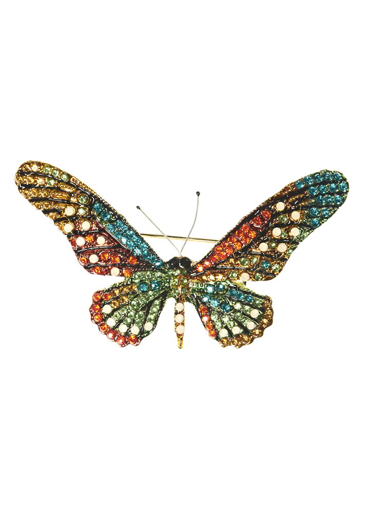 Citrus Rainbow Crystal Butterfly Hair Clip and Brooch