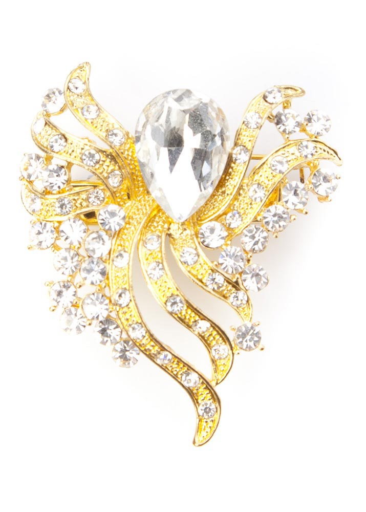 Gold and Crystal Bouquet Hairclip and Brooch