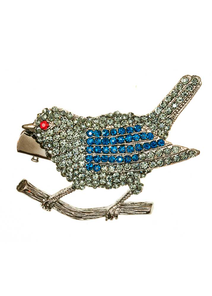 Pewter Finch Hairclip & Brooch
