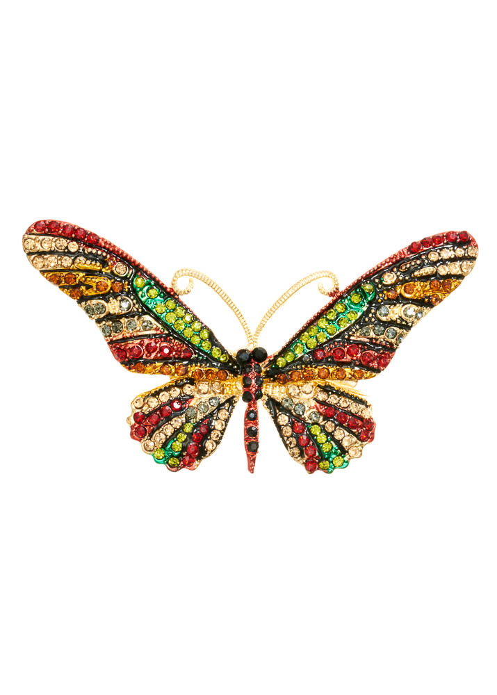 Autumn Crystal Butterfly Hairclip & Brooch