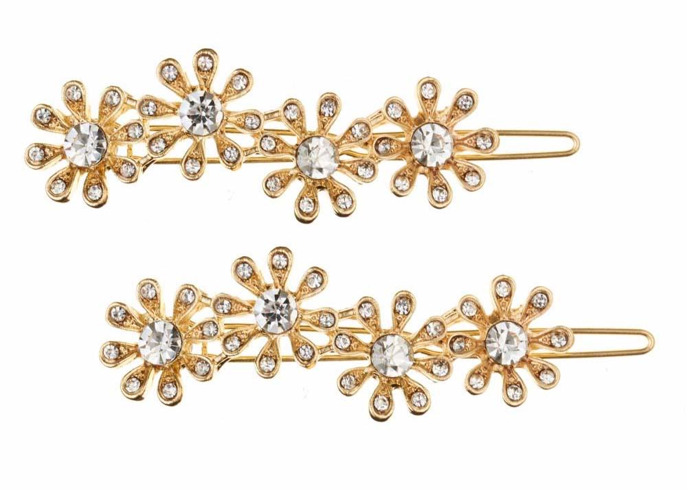Gold Crystal Daisy Hairclips