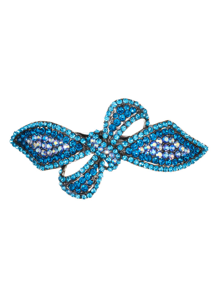 Aqua Blue Crystal Bow Barrette Clip