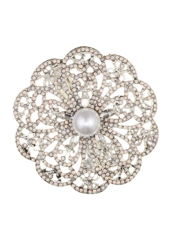 Crystal & Freshwater Pearl Rose Brooch
