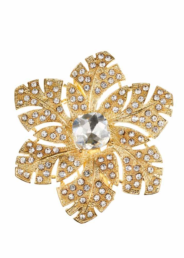 Gold & Crystal Rose Hairclip & Brooch