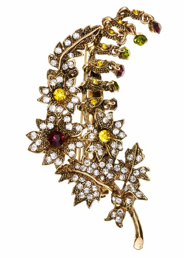 Gold Crystal Bouquet Brooch