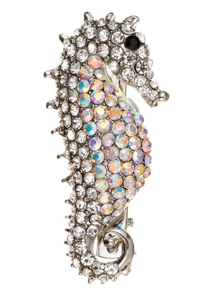 Silver Crystal Seahorse Brooch