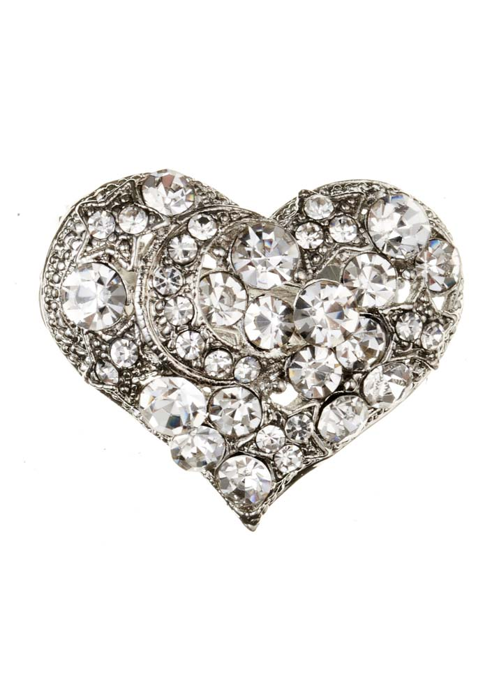Crystal Heart Hairclip & Brooch