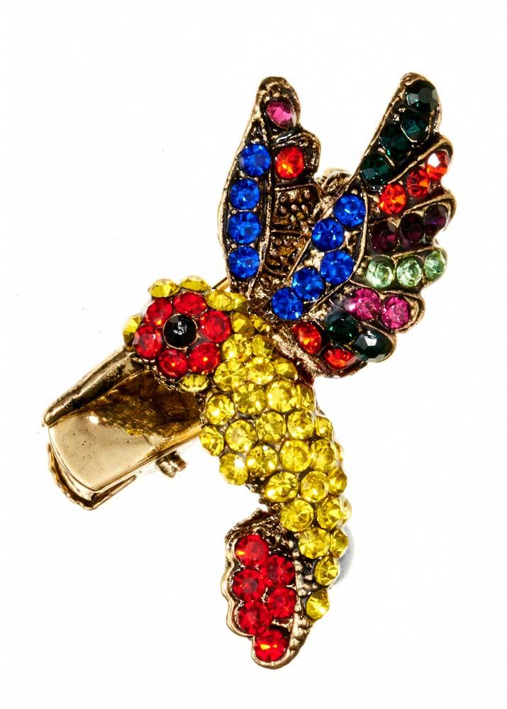 Rainbow Hummingbird Brooch