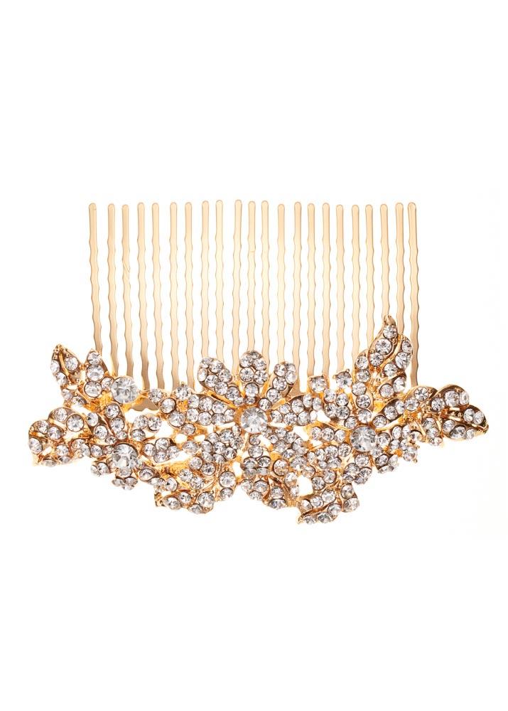 Gold Elegant Crystal Floral Comb