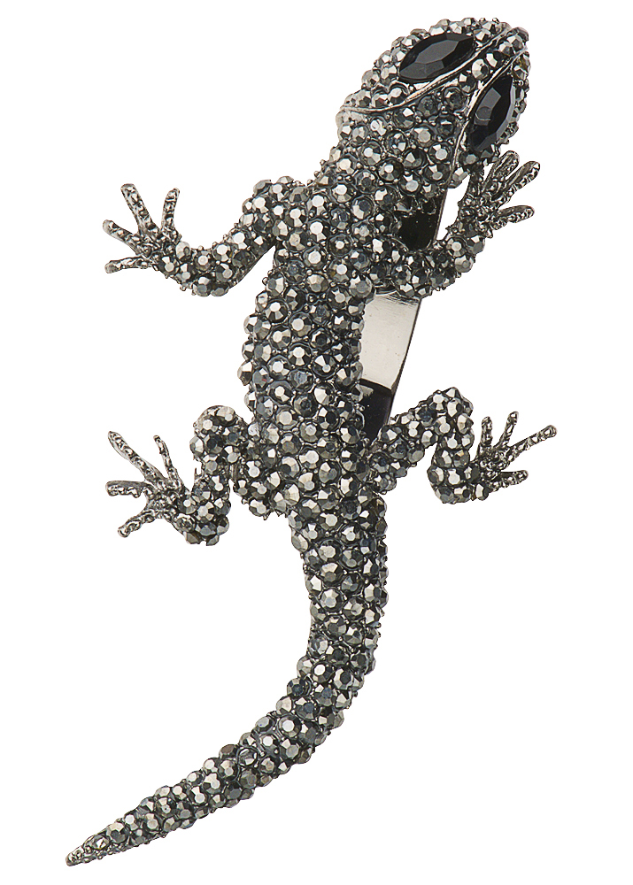 Pewter Crystal Gecko Hairclip & Brooch