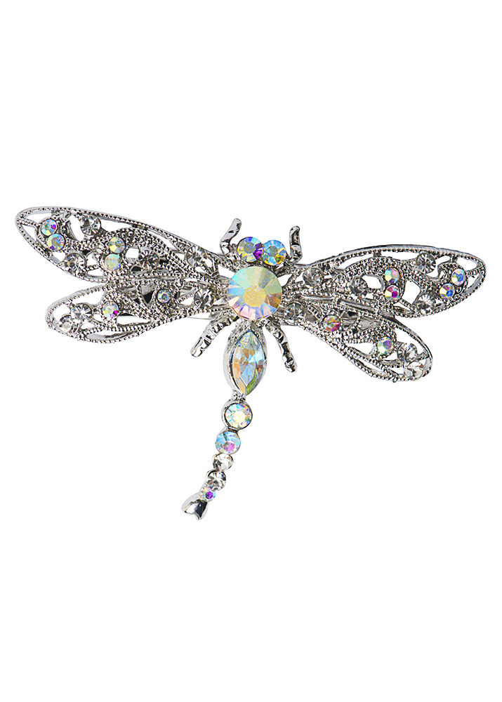 Silver Crystal Dragonfly Brooch & Hairclip