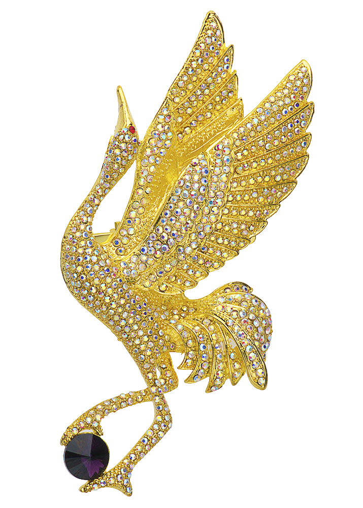 Gold Crystal Elegant Crane Bird Brooch