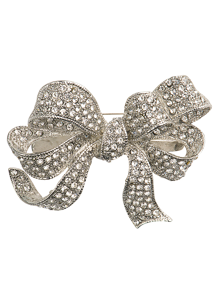 Silver Crystal bow Brooch & Hairclip