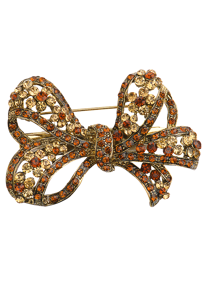 Gold Crystal Bow Brooch & Hairclip