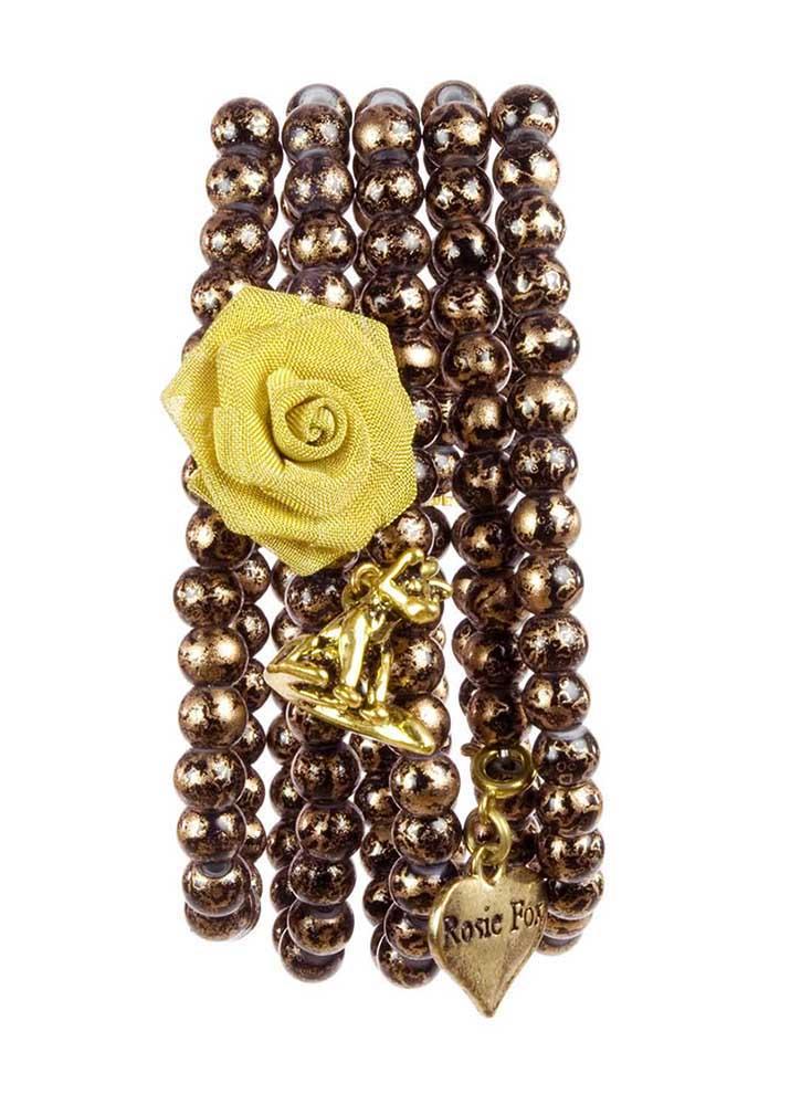 Bronze Jet Stretch Cuff Bracelet