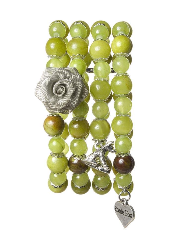 Olive Agate Stretch Cuff Bracelet