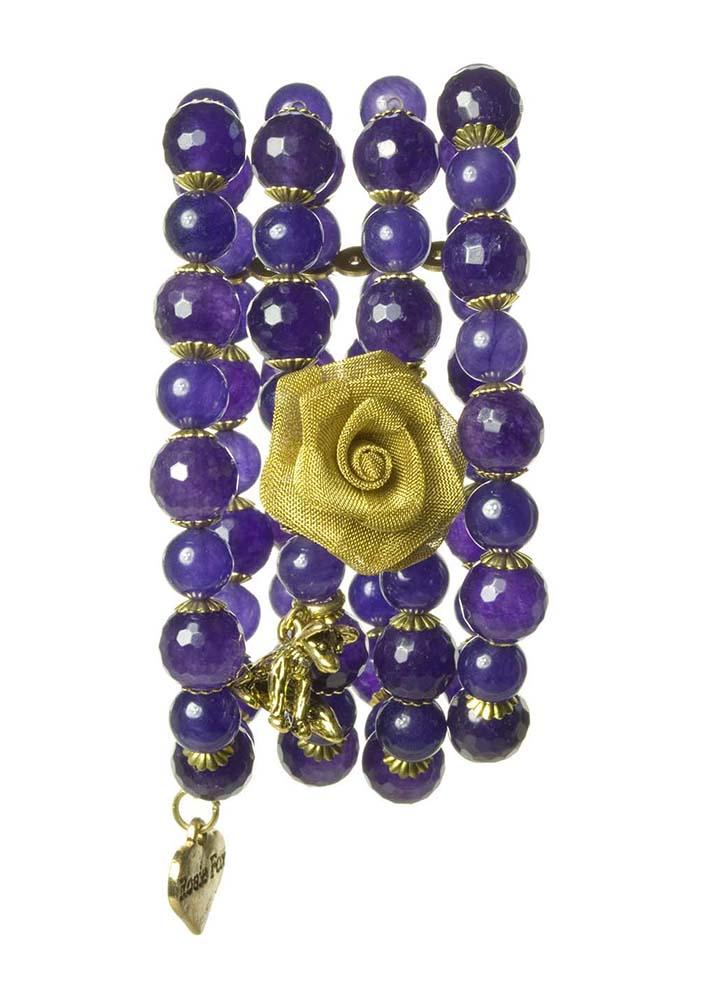 Purple Agate Stretch Cuff Bracelet