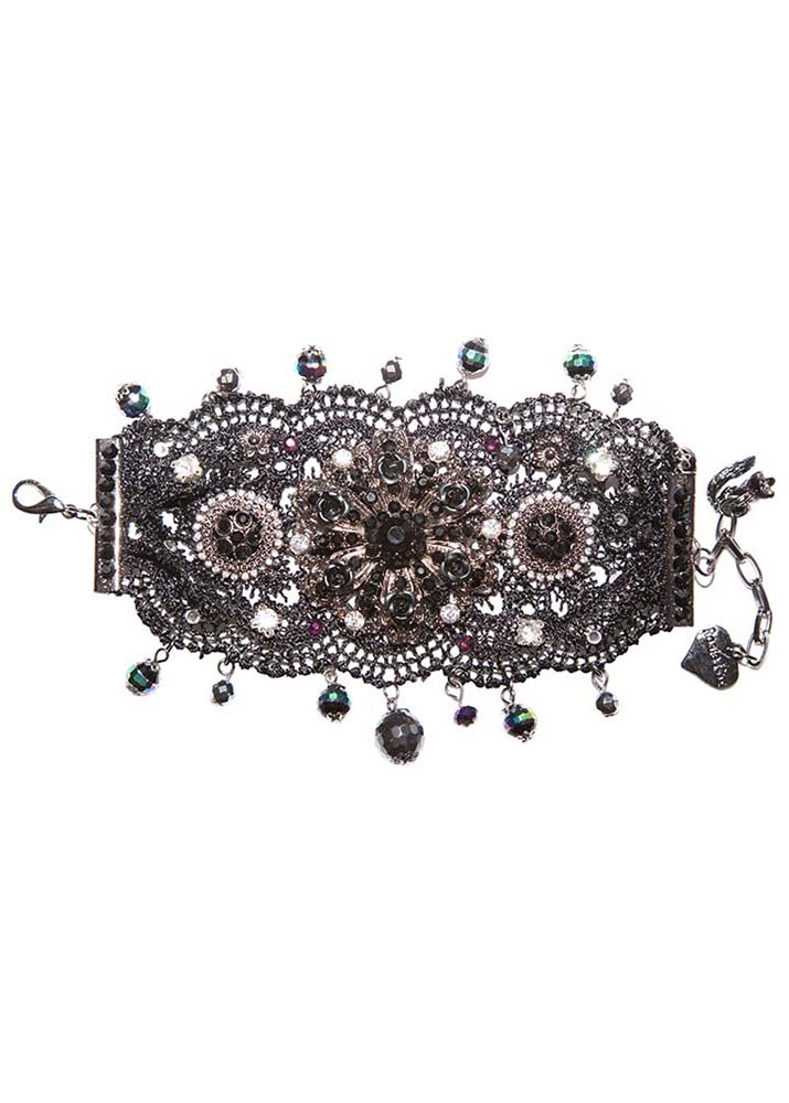 Black and pewter lace cuff