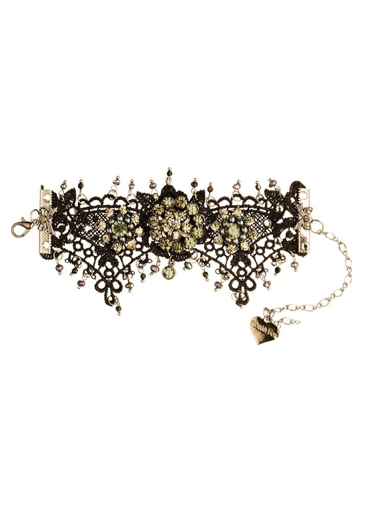 Black Pearl & Onyx Lace Crystal Cuff